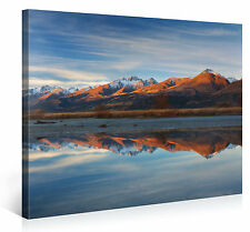 Stretched Canvas Print - LAKESIDE VIEW Large Mountain Scenery Wall Art s3823