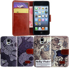 Luxury Stand Wallet Skull Pirate Flip PU Leather Case Cover For iPhone Samsung