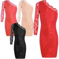 New Womens One Shoulder Mini Floral Lace Ladies Party Bodycon Mini Dress 6-12