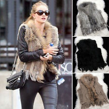 Womens Real Racoon Fur Rabbit Fur Sleeveless Knit Vest Gilet Waistcoat 4 Color E