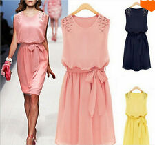 Women's Ladies Chiffon Sleeveless Floral Evening Party Long Summer Dress