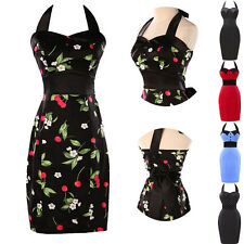 GK Ladies 50s 60s Swing Polka Dots Halter Cotton Cocktail Party Housewife Dress