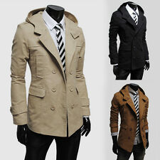 New Warm Cool Mens Slim Fit Casual Double Breasted Coats Long Jackets Outerwear