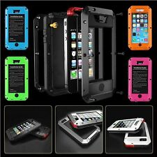 ALUMINUM GORRILLA GLASS METAL COVER CASE FOR iPHONE 4 5 6 AND PLUS SHOCKPROOF **