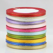 "25/250 yds Gold edge ribbon 1/4""(6 mm )Solid ribbon Wedding&packaging supplies"