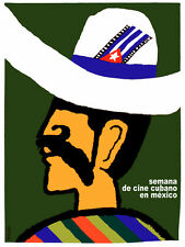 5362.Semana de cine cubano.mexican with flag on hat.POSTER.decor Home Office art