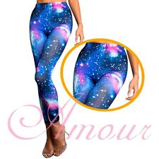 New Blue Galaxy Space Cosmic Tie Dye Graphic Stretchy Tights Leggings @BS107bl
