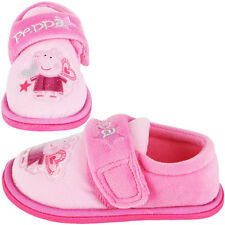 NEW GIRLS PEPPA PIG PINK VELCRO SLIPPERS SHOES FOOTWEAR SIZE 5 6 7 8 9 10