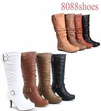 Low Flat Heel Military Riding Mid-Calf Knee High Boot Shoes Size 5 - 10 NEW