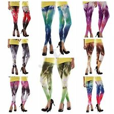 Women Skinny Colorful Lightning Pattern Print Leggings Stretchy Tights Pants