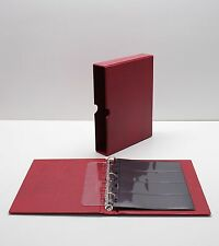 VARIO Red 3 Ring Binder w 20 Four Pocket Pages for Stamp Collecting & Other