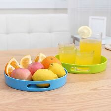 Plastic Cafe Serving Round Tray/Food Beverage Dessert Teapot Warmer Cups/Handle