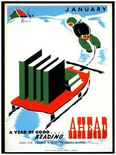 5656.A year of good reading.ahead.boy sleds in winter.POSTER Home Office decor