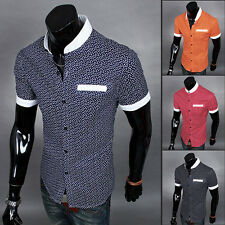 Mens Luxury Casual Slim fit Stylish Dress Short Sleeve Shirt 4 Color 4 Size