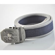 Military Pirate Stainless Steel Buckle Men Boy Webbing Waist Thicken Canvas Belt