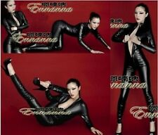 SEXY Black Goth Punk PU Faux Leather Catsuit Teddy Zipperfront Clubwear @AS62