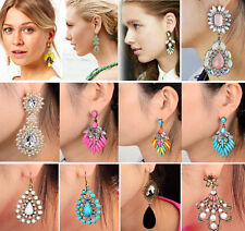 Vintage Retro Women bohemian Teardrop Statement Gemstone Dangle Stud Earrings