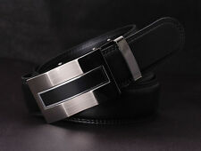 Mens Black Leather Automatic Lock Buckle Belt Dress Casual Business Waistband