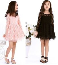 Girls Kids Toddlers Dress Princess Flower Lace Sleeve Tulle Party 2-7Y Clothing