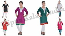 Indian Woman Multi Color Kurta Embroidered Cotton Tunic 3/4th Sleeves Kurti