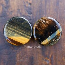 Pair of Blue Tigers Eye Organic Stone Plugs  - Double Flared - 6mm - 25mm -10sz