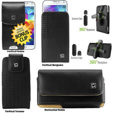 Premium Leather Case for Samsung Galaxy S5 with Spring & Swivel Extra Bonus Clip