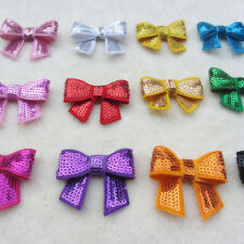 lot 2 inch sequin bow Knot Applique without headband  DIY for Hair Accessory