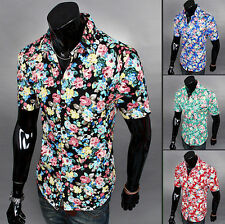 New Summer Fashion Style Mens Casual Floral Short Sleeve Dress Shirt Slim Fit