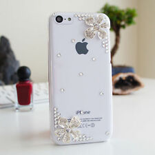 3D Flower Luxury Bling Glossy Diamond Crystal Case Cover For iPhone 5C 5 5S 4 4S