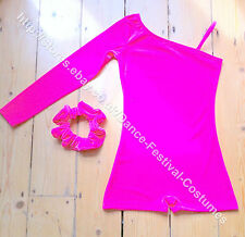 Neon hot pink dance costume for girls tap disco or modern festival solo 4-14yrs