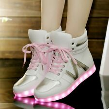 Women's LED Light Shiny Heels Lace Up High Top Skateboard Shoes Fashion Sneaker