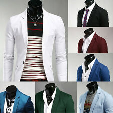 FASHION Men's Luxury Blazer Casual Slim Fit One Button Suit Dress Coat Jacket