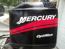"MERCURY BOAT MOTOR COWL DECAL SET in Red + ""Your Choice of HP Rating"" Optimax"