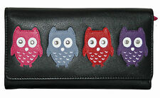NEW WOMENS MALA LEATHER OWL LARGE TRIFOLD PURSE  STYLE KYOTO 313745