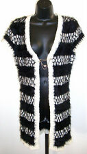 Loose Fit Long Cardigan Coat Jumper Knitwear Mohair Look w/Pin Front Closure NEW