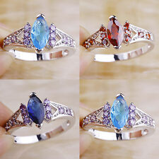 Free Ship Ruby Spinel Blue Topaz Sapphire Quartz Jewelry Silver Ring Size 7 9 10