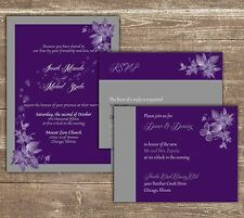 100 Personalized Custom  Floral Purple Wedding Invitations Set ANY COLOR