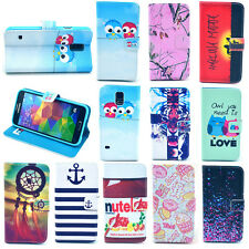 New Painted Patterns PU Leather Card Case Cover For Samsung S5 V i9600 Stand Hot