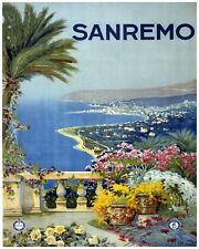 6059.Sanremo.Flowers and Palm tree on balcony by the bay.POSTER.Home Office art