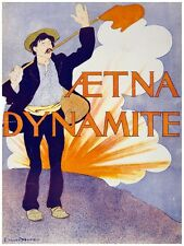 6066.Aetna Dynamite.Man with flag raising left arm.waving.POSTER.Home Office art