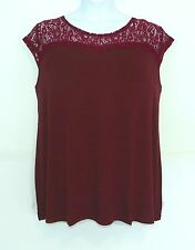 AnyWear by Catherines~NEW~1X 2X 5X~Deep Burgundy Lace Shoulder Sweetheart Cap Sl