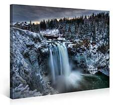 Stretched Canvas Print - SNOQUALMIE FALLS Large Snowy Waterfall Wall Art s3738