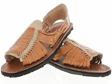 mens genuine leather huaraches tough tire sole brown beige mexican sandals new