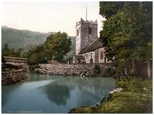 5921.Gransmere Church.next to river.bridge.mountains.POSTER.Home Office art
