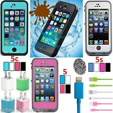 Waterproof Shockproof Fingerprint Case Cover for Apple Iphone 5 5c 5s & Charger