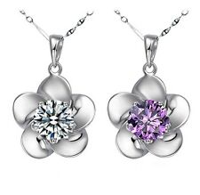 925 sterling silver fashion flower lady necklace pendant crystal 2 colors e hot