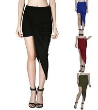 Asymmetrical Skirt Wrap Banded Waist Draped Cut Out Hi Low Maxi Skirt - S M L