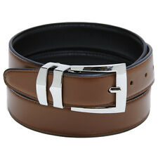Reversible Belt Bonded Leather Removable Silver-Tone Buckle CONGAC BROWN / Black