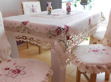 Premium Quality Embroidered Floral Tablecloth Cotton Blend Table Cover HB03