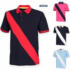 Front Row Mens Polo Shirt Diagonal Stripe Fashion Short Sleeve Summer Top New